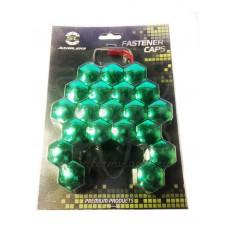 Зелёные ХРОМ колпачки Starleks на колесные гайки/болты 22