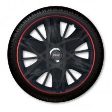 Колпаки колёсные Jacky J-tec МАКСИМУС черные с красным  /GTR/ R16